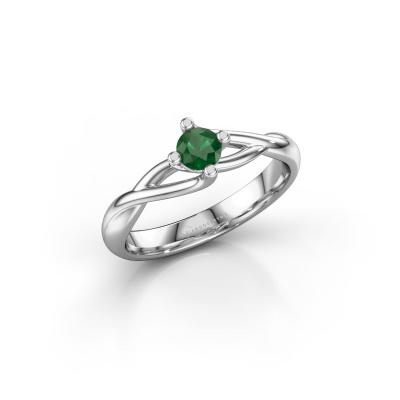 Foto van Verlovingsring Paulien 585 witgoud smaragd 4 mm