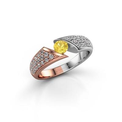 Foto van Verlovingsring Hojalien 3 585 rosé goud gele saffier 4.2 mm