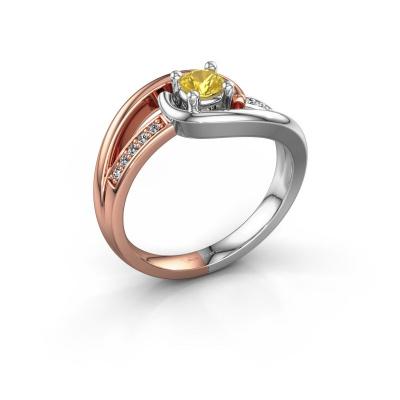 Ring Aylin 585 rosé goud gele saffier 4 mm