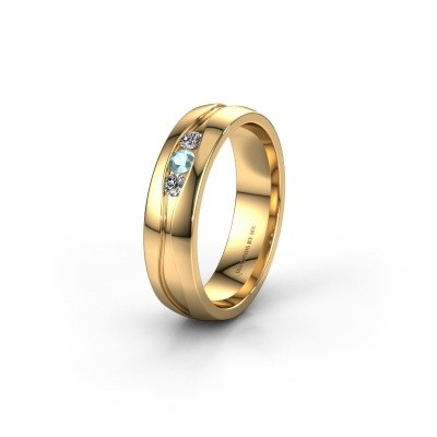 Trouwring WH0172L25A 375 goud aquamarijn ±5x1.7 mm