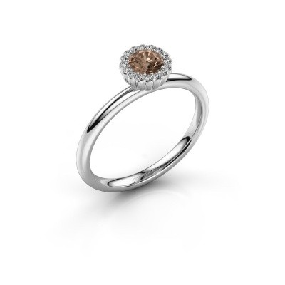 Engagement ring Queen 585 white gold brown diamond 0.38 crt