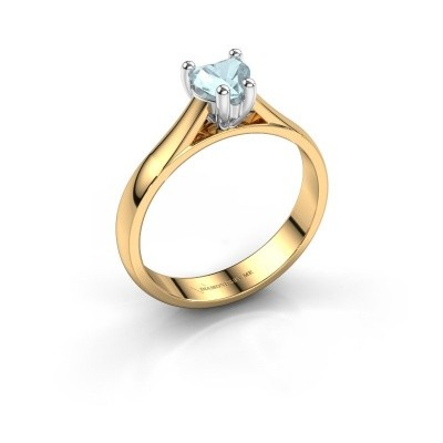 Verlobungsring Sam Heart 585 Gold Aquamarin 5 mm