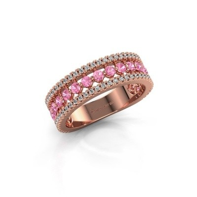 Verlovingsring Elizbeth 1 375 rosé goud roze saffier 2 mm