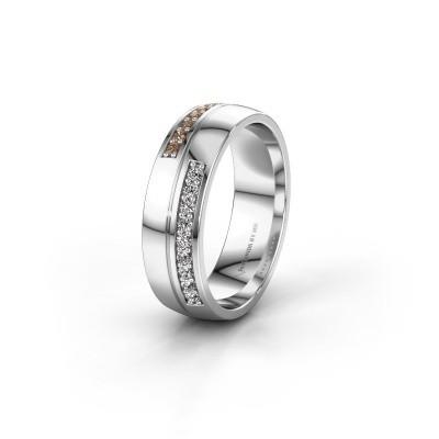 Wedding ring WH0213L26AP 585 white gold brown diamond ±0.24x0.07 in