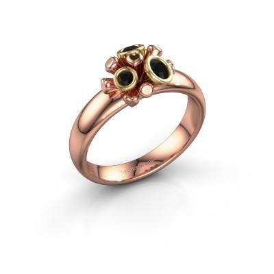 Ring Pameila 585 rosé goud zwarte diamant 0.228 crt