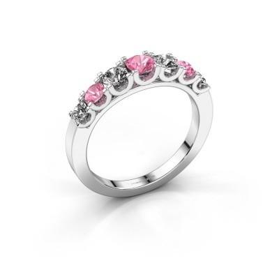 Foto van Verlovingsring Selina 3 585 witgoud roze saffier 3.7 mm