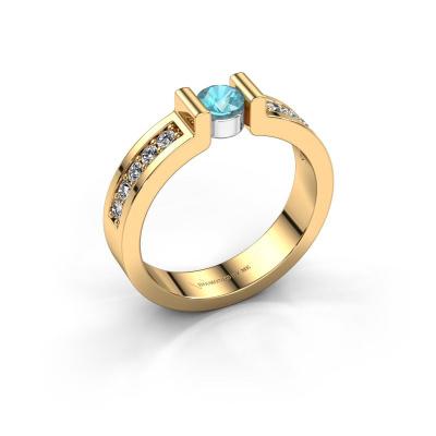Verlovingsring Isabel 2 585 goud blauw topaas 4 mm