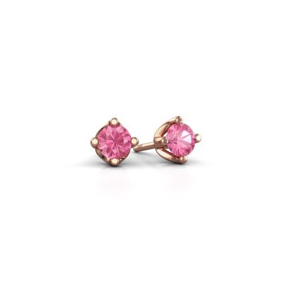 Picture of Stud earrings Briana 375 rose gold pink sapphire 3.7 mm