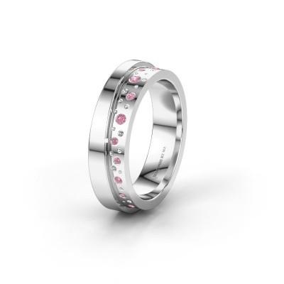 Trouwring WH6016L15E 950 platina roze saffier ±5x2.6 mm