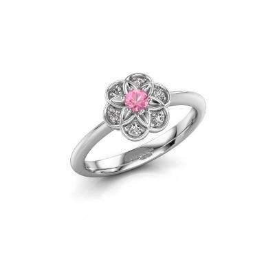 Verlovingsring Uma 925 zilver roze saffier 3 mm