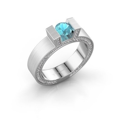 Picture of Ring Leena 2 585 white gold blue topaz 5 mm