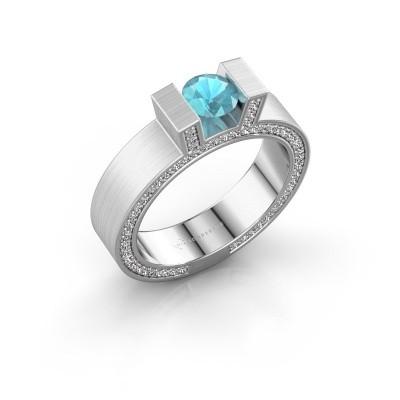 Foto van Ring Leena 2 585 witgoud blauw topaas 5 mm