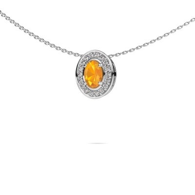 Necklace Madelon 585 white gold citrin 6x4 mm