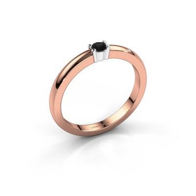 Foto van Promise ring Yasmin 1 585 rosé goud zwarte diamant 0.096 crt