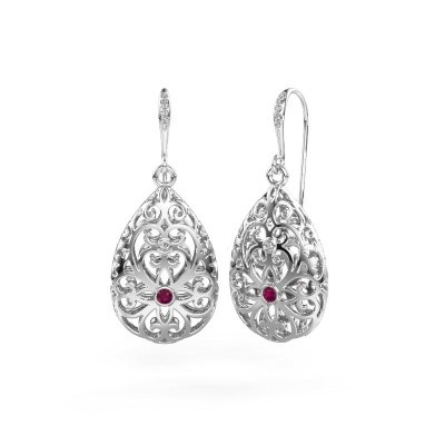 Picture of Drop earrings Idalia 2 375 white gold rhodolite 2 mm