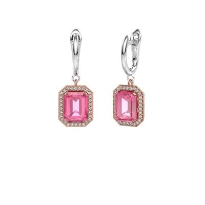 Drop earrings Dodie 1 585 rose gold pink sapphire 9x7 mm