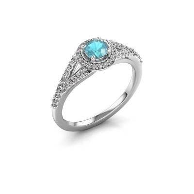 Foto van Verlovingsring Pamela RND 585 witgoud blauw topaas 4 mm
