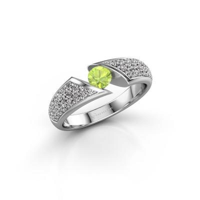 Engagement ring Hojalien 3 585 white gold peridot 4.2 mm