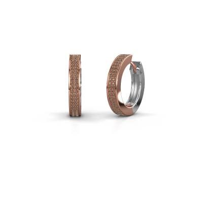 Creolen Renee 5 12 mm 585 rosé goud bruine diamant 0.78 crt