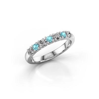 Foto van Belofte ring Rianne 7 585 witgoud blauw topaas 2.4 mm