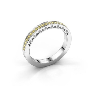 Ring Yasmine 950 platina gele saffier 1.2 mm