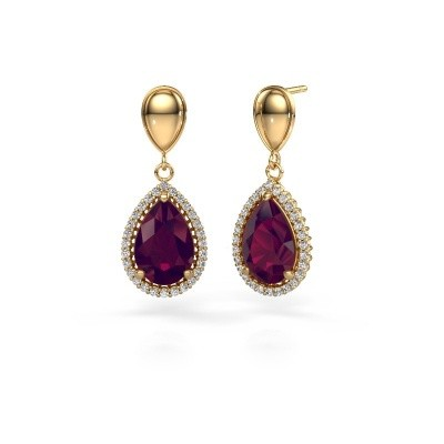 Picture of Drop earrings Cheree 1 585 gold rhodolite 12x8 mm