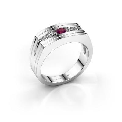 Foto van Heren ring Huub 585 witgoud rhodoliet 3.7 mm