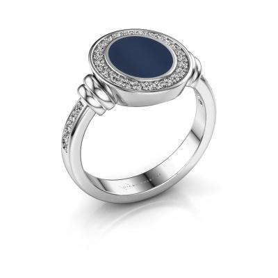 Zegelring Bailey 925 zilver donker blauw lagensteen 10x8 mm