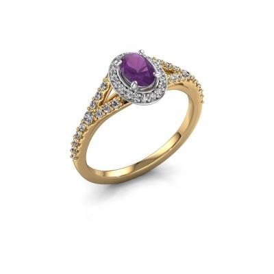 Belofte ring Pamela OVL 585 goud amethist 7x5 mm