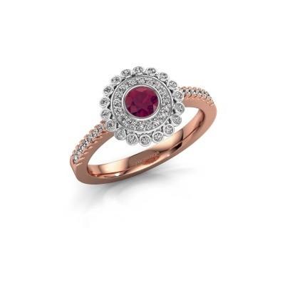 Verlovingsring Shanelle 585 rosé goud rhodoliet 4 mm