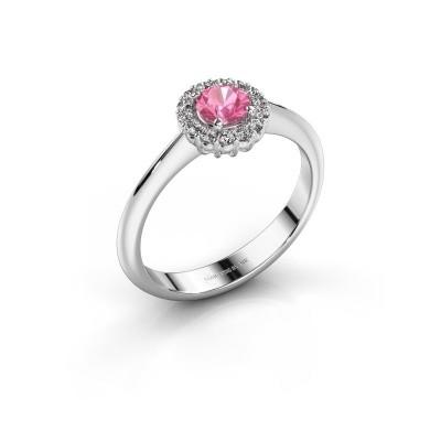 Verlovingsring Anca 585 witgoud roze saffier 4.2 mm
