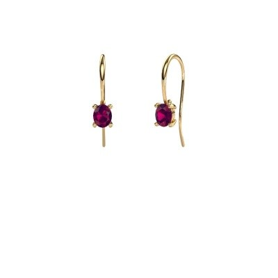 Picture of Drop earrings Cleo 585 gold rhodolite 6x4 mm