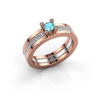 Foto van Ring Alisha 585 rosé goud blauw topaas 4 mm