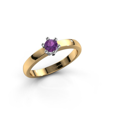 Engagement ring Luna 1 585 gold amethyst 3.7 mm