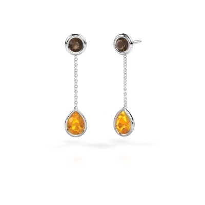 Picture of Drop earrings Ladawn 950 platinum citrin 7x5 mm