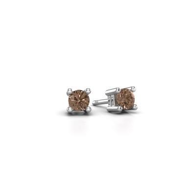 Foto van Oorknopjes Eline 950 platina bruine diamant 0.25 crt