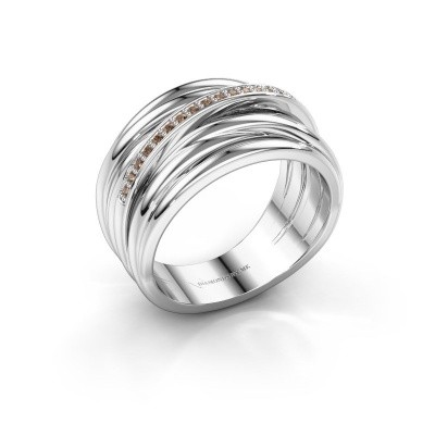 Foto van Ring Fien 585 witgoud bruine diamant 0.095 crt