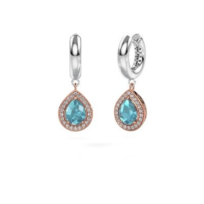 Picture of Drop earrings Barbar 1 585 rose gold blue topaz 8x6 mm