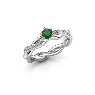 Foto van Verlovingsring Page 375 witgoud smaragd 4 mm