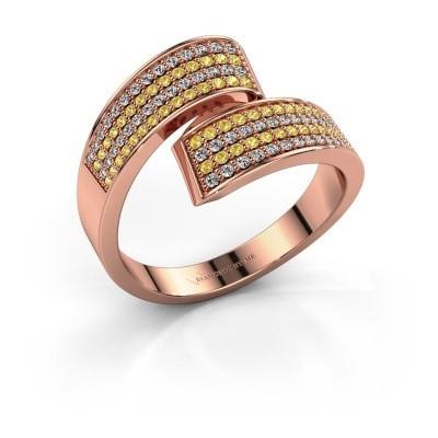 Ring Athena 375 rosé goud gele saffier 1 mm