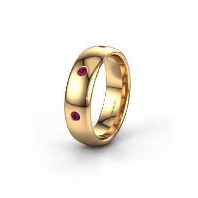 Wedding ring WH0105L36BP 375 gold rhodolite ±0.24x0.08 in