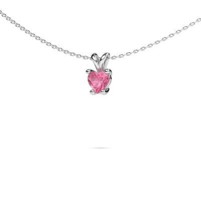 Foto van Ketting Sam Heart 585 witgoud roze saffier 5 mm