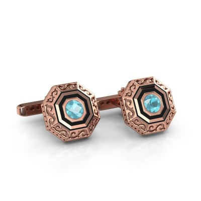 Cufflinks Dion 375 rose gold blue topaz 5 mm