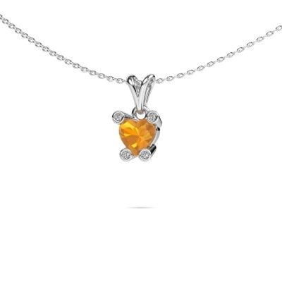 Foto van Ketting Cornelia Heart 585 witgoud citrien 6 mm