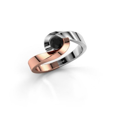 Foto van Ring Sheryl 585 rosé goud zwarte diamant 0.30 crt