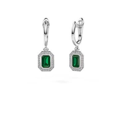 Picture of Drop earrings Noud EME 925 silver emerald 6x4 mm