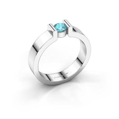 Verlovingsring Isabel 1 585 witgoud blauw topaas 4 mm
