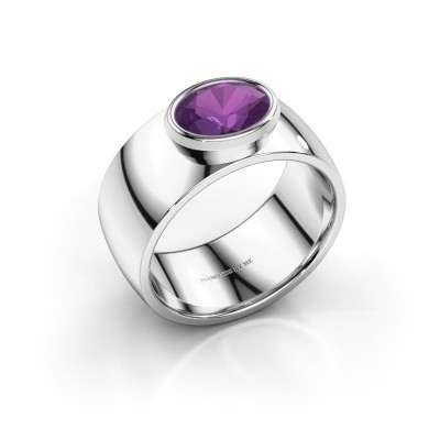 Ring Wilma 1 950 platina amethist 8x6 mm