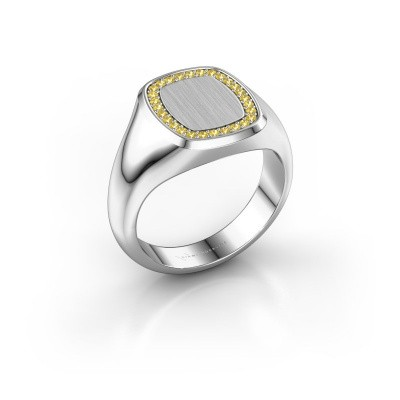 Heren ring Floris Cushion 2 925 zilver gele saffier 1.2 mm