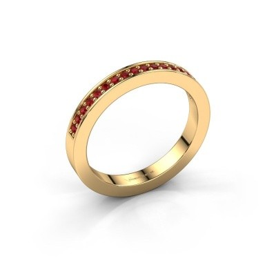 Stackable ring Loes 4 375 gold ruby 1.3 mm